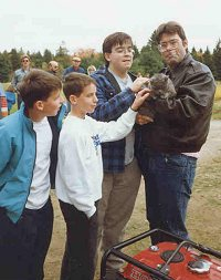 Author Stephen King, his sons, and Church